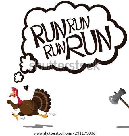 Run run run cartoon turkey EPS 10 vector illustration - stock vector