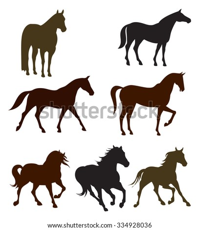 Run, stand and  walk horses silhouettes vectors