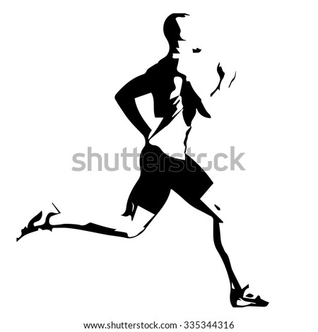 Run, vector drawing silhouette - stock vector