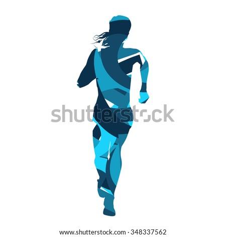 Run woman. Abstract blue silhouette - stock vector