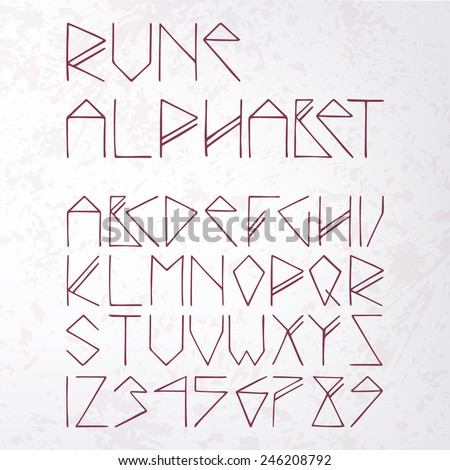 rune alphabet on aged paper (texture) - stock vector