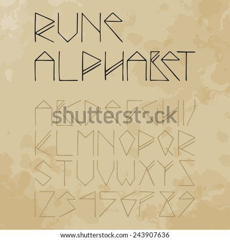 rune alphabet on aged paper (vintage) - stock vector