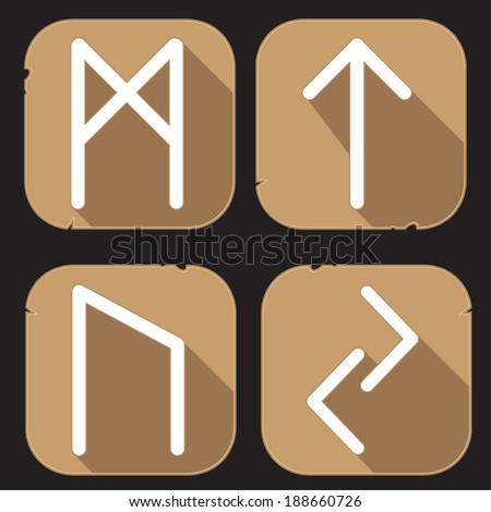 Runes Engraved on Stone. Set number four on white - stock vector