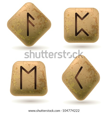 Runes Engraved on Stone. Set number six on white - stock vector