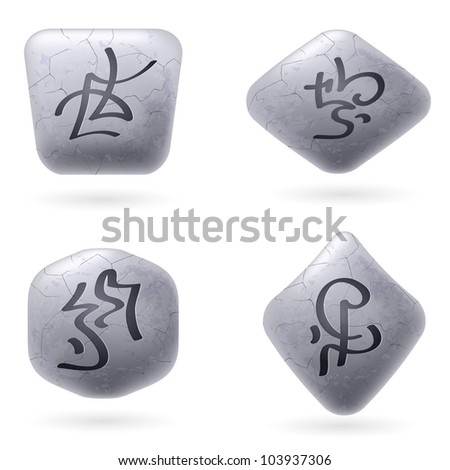 Runic Stones with Magical Spells. Set number Six on white