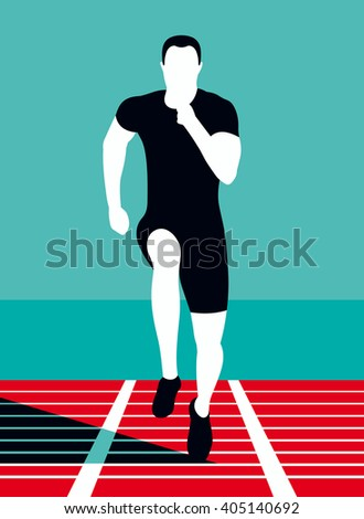 Runner. Art poster. Vector illustration.