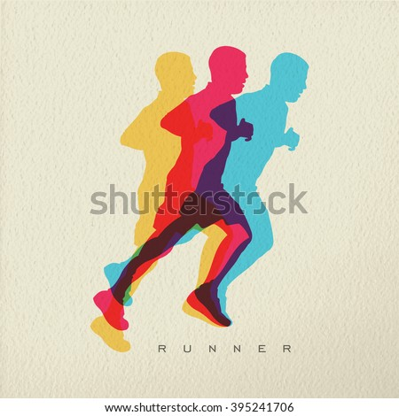 Runner concept illustration of man athlete silhouette running a race. Colorful modern design on texture background. EPS10 vector. - stock vector