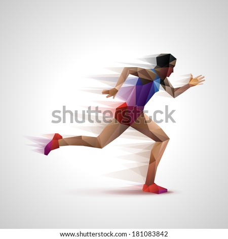 Runner, eps10 vector - stock vector