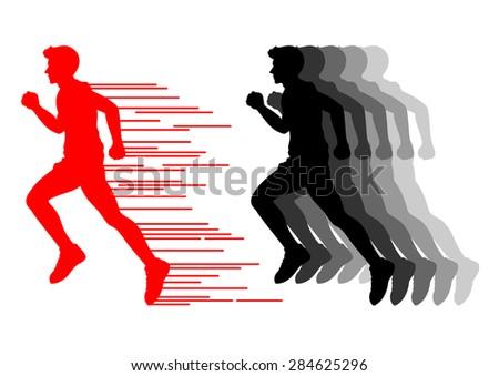 runner, fast motion, vector illustration design - stock vector