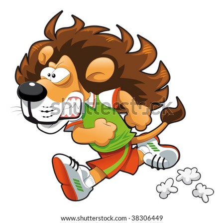 Runner Lion. Funny cartoon and vector sport character. - stock vector