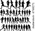 runner people vector - stock vector