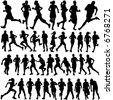 runner people vector - stock vector