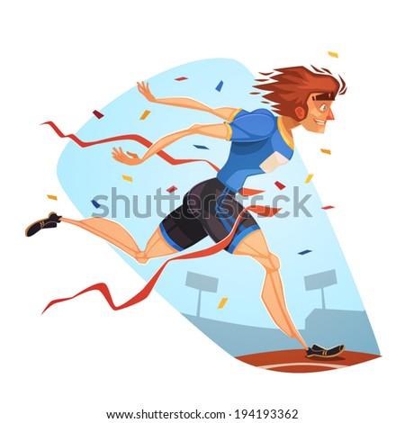 Runner. Sporting Achievement. Vector image - stock vector