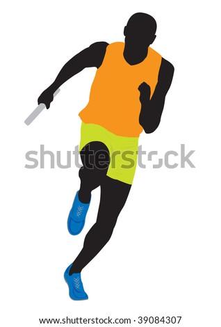 Runner. Vector illustration for you design - stock vector
