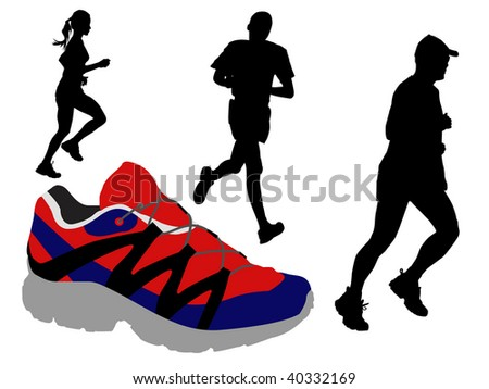 runners and shoe - stock vector