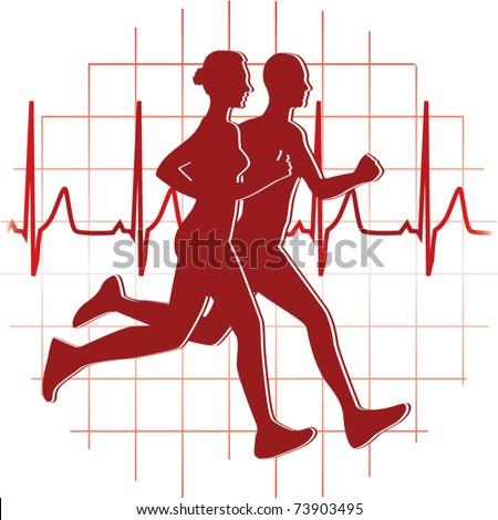runners couple vector - stock vector