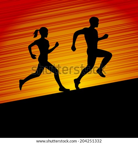 Runners, Men and Women Running Silhouette. Vector illustration - stock vector