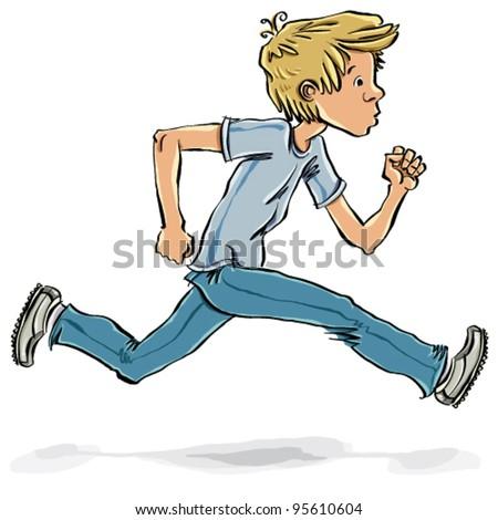 Running and hurrying teen boy vector cartoon, comic style illustration. - stock vector