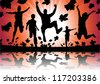 Running and Jumping in the Autumn Leaves - stock