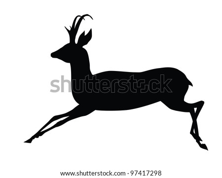Running antelope silhouette. Vector eps8 - stock vector