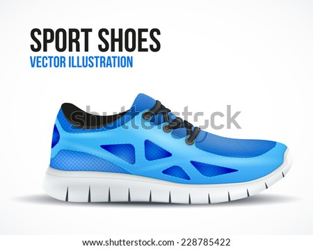 Running blue shoes. Bright Sport sneakers symbol. Vector illustration isolated on white background. - stock vector