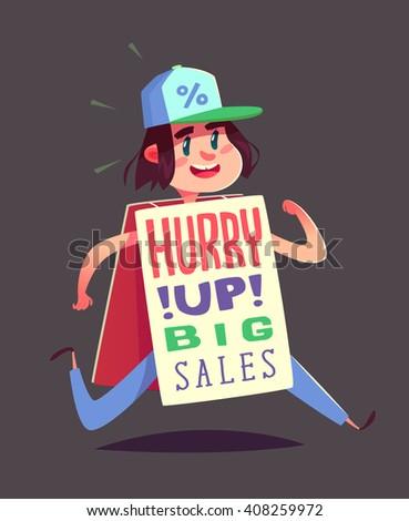Running boy with an advert. Vector illustration. - stock vector