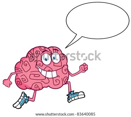 Running Brain With Speech Bubble - stock vector
