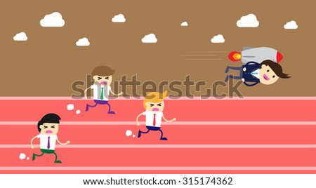 running businessman at the finishing line. wins Race target success. Bulb idea concept. winner. finish. win. flat design. track.Success. goal.Target. rocket.Business. air fly - stock vector