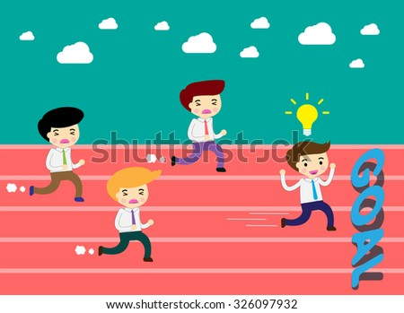 running businessman at the finishing line. wins Race target success. Bulb idea concept. winner. finish. win. flat design. track.Success. goal.Target.Business - stock vector