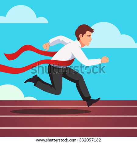 Running businessman crosses a finish line red ribbon, winning a race. Flat style vector illustration isolated on white background. - stock vector