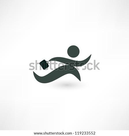 Running businessman icon - stock vector
