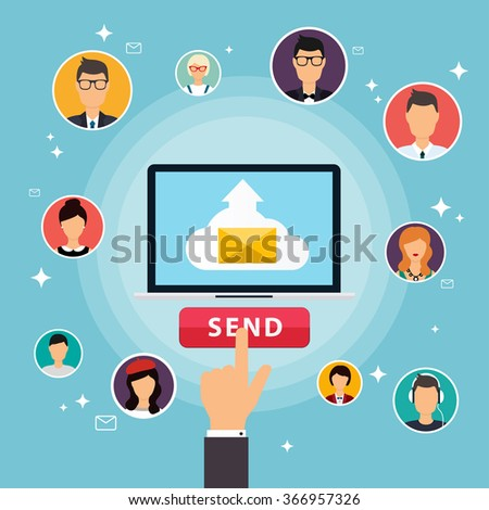 Running campaign, email advertising, direct digital marketing. Set of people avatars and icons. Flat design style modern vector illustration concept. - stock vector
