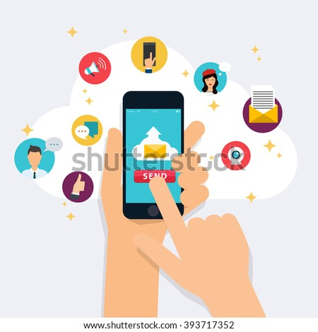 Running campaign, email advertising, direct digital marketing. Set of social media icons. Flat design style modern vector illustration concept. - stock vector