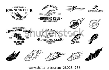 Running Club Logo, Labels, Icons and Design Elements - stock vector