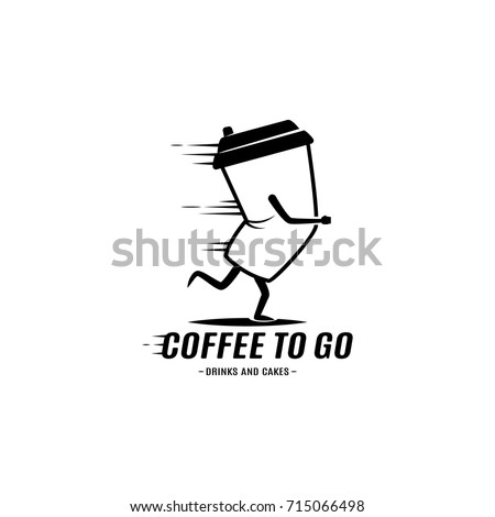 Go Style Template | Running Coffee Cup Mug Logo Monochrome Vector De Stock715066498