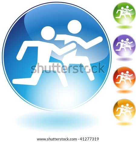 Running crystal icon isolated on a white background. - stock vector