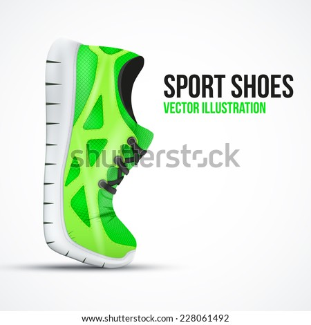 Running curved shoes. Bright Sport sneakers symbol. Vector illustration isolated on white background. - stock vector