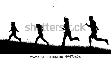 Running  family - black silhouettes of people - stock vector