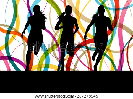 Running fitness women sprinting and training for marathon - stock vector