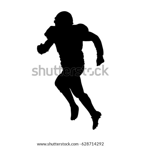 running football player vector silhouette front view