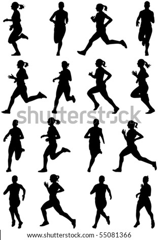 Running girl black silhouettes, sixteen different postures - stock vector