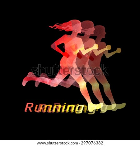 Running girl is very beautiful vector illustration - stock vector