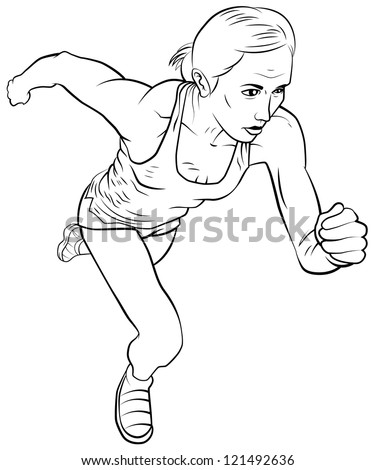 Running girl. The isolated vector graphic. - stock vector