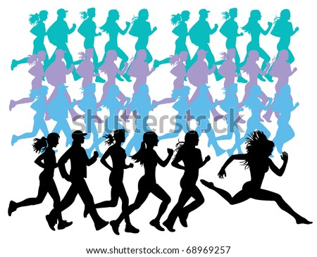 Running girls - stock vector