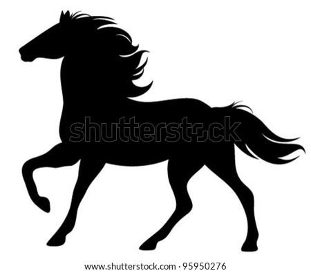 running horse silhouette - black vector outline on white - stock vector