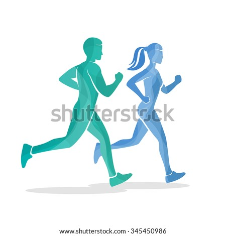 Running man and woman silhouettes. Runner sport body, active fitness, vector illustration - stock vector