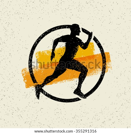 Running Man Creative Vector Sport Icon On Grunge Background With Brush Strokes. - stock vector