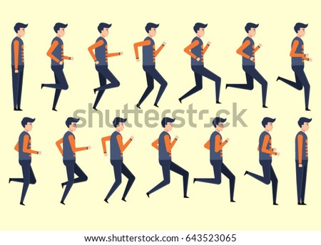 Running Man Animation 14 Frame Sequence Stock Vector 643523065 ...