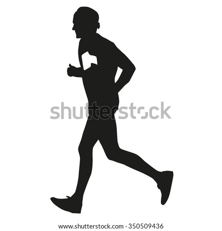 Running man, hearth rate computer, vector silhouette - stock vector