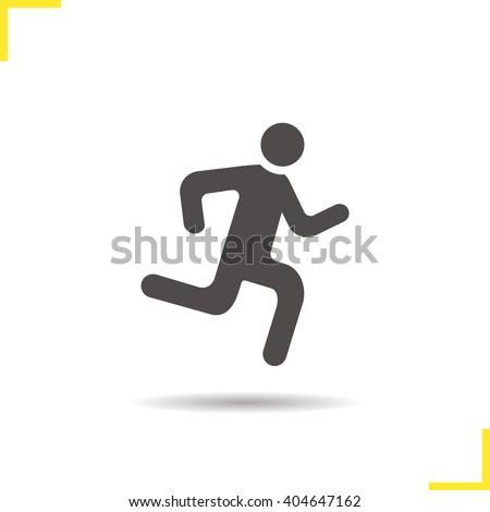 Running man icon. Drop shadow runner silhouette symbol. Vector isolated illustration - stock vector